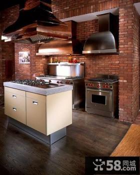 美式乡村别墅开放式厨房装修效果图大全