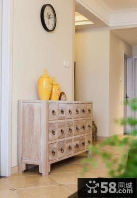 美式家居风格实木玄关鞋柜效果图