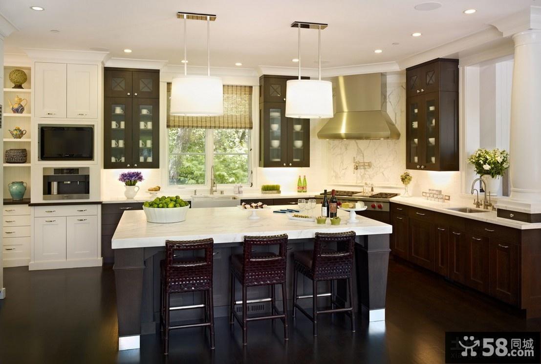 开放式厨房整体橱柜装修效果图大全2012图片