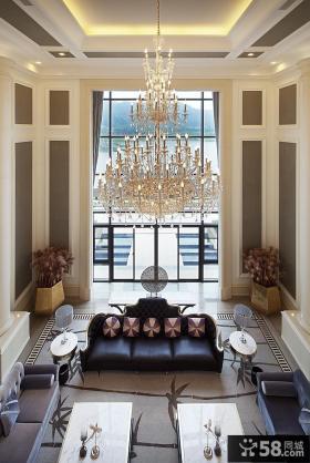 别墅挑高客厅水晶灯吊顶造型设计