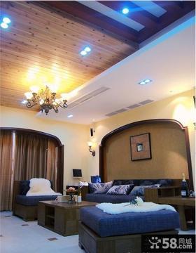 客厅木质天花板射灯吊顶装修效果图