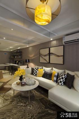 现代风格两室一厅精装效果图大全2014图片