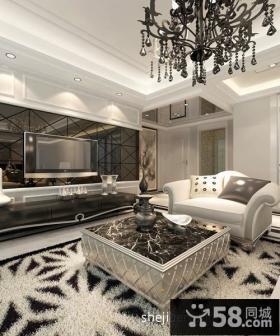 欧式现代客厅艺术瓷砖电视背景墙装修效果图