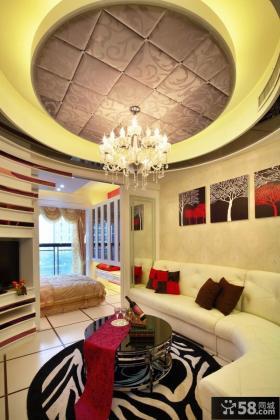 现代50平米小户型客厅吊顶造型设计