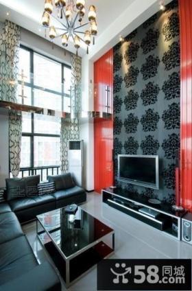 复式楼客厅电视背景墙效果图