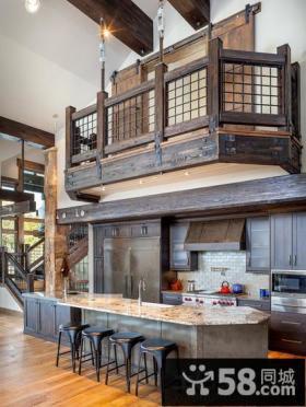 欧式古典风格阳台厨房装修效果图