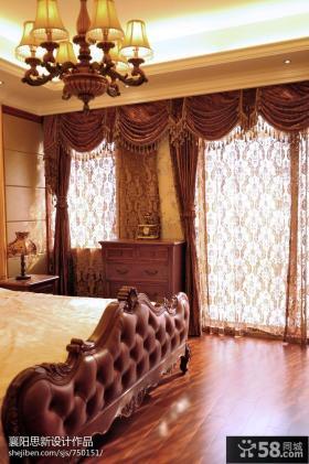 美式风格落地窗窗帘装修效果图