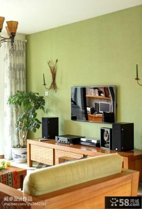 东南亚风格客厅电视机墙面漆背景墙效果图