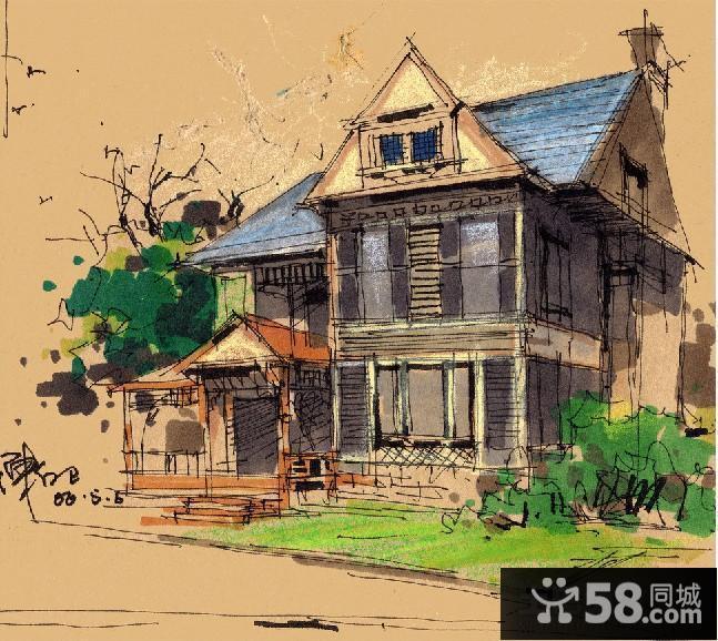 手绘别墅建筑外观效果图