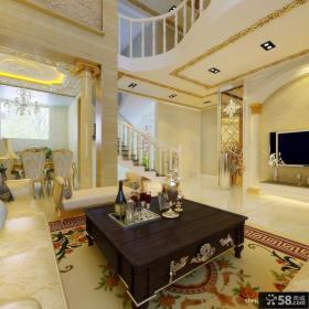 欧式别墅客厅茶几装修效果图 奢华别墅效果图
