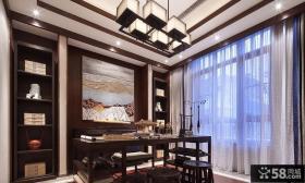 中式装饰别墅书房设计效果图