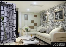 现代简约风格客厅拐角沙发背景墙效果图