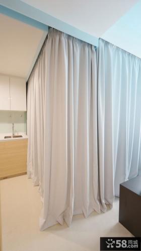简约公寓房间布帘隔断设计图片