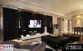 现代硬包客厅电视背景墙效果图