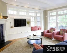 欧式风格白色客厅电视背景墙柜装修效果图