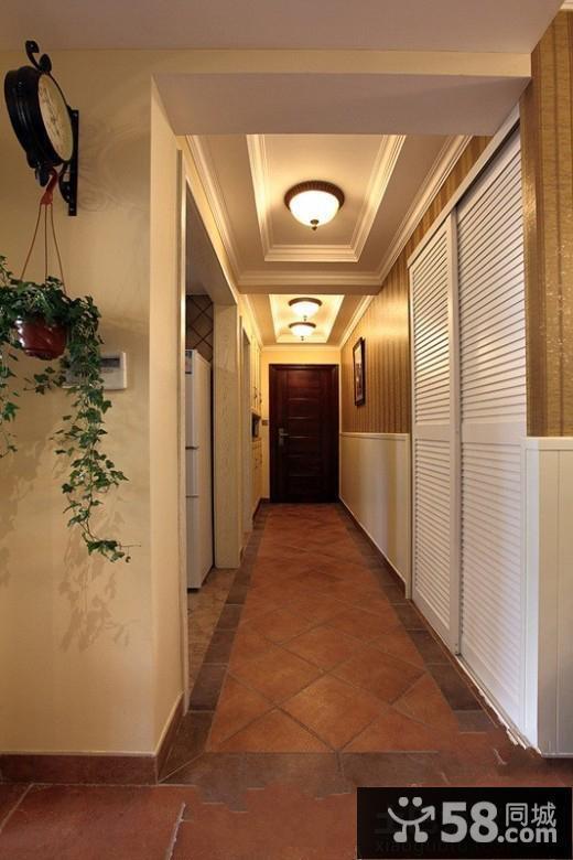 美式风格室内设计过道吊顶效果图图片