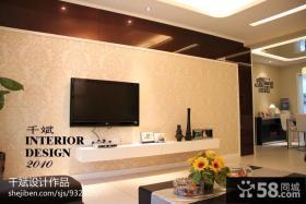 现代简约风格客厅电视背景墙壁纸大全