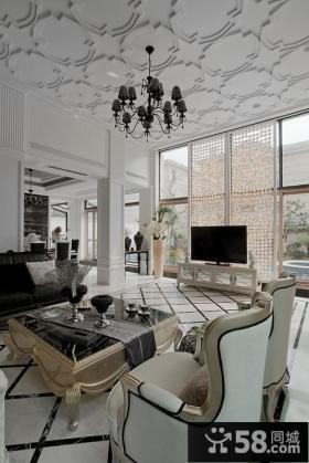 欧式新古典风格别墅客厅电视背景墙效果图