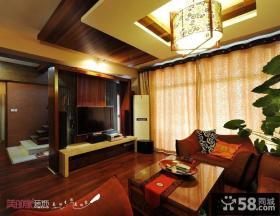 现代中式复式楼客厅电视背景墙装修效果图