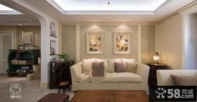 美式风格沙发背景墙图片欣赏大全