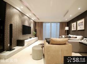 客厅雕花电视机背景墙效果图片大全
