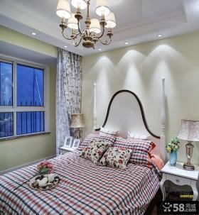 欧式田园风格卧室布艺软床图片
