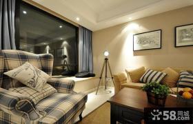 现代美式风格客厅飘窗图片