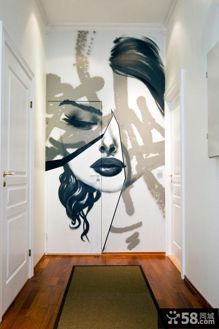 手绘墙画隐形门装饰设计