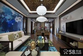 中式风格客厅电视背景墙效果图大全2014