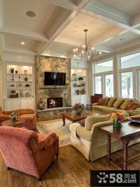 美式乡村客厅装修设计图片