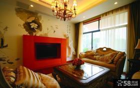 现代中式客厅电视背景墙效果图片