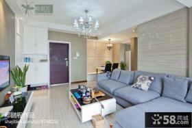 现代客厅布艺沙发瓷砖背景墙效果图
