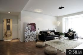 90平米小户型客厅装修效果图 客厅莲花油画装饰图