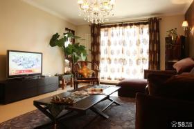 现代中式风格客厅窗帘效果图