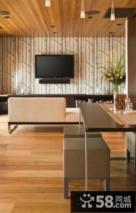 家装客厅电视背景墙壁纸图片
