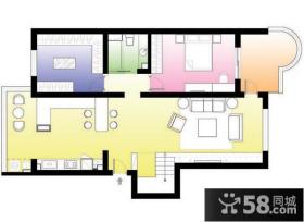 复式楼一楼两室两厅平面图