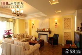 美式田园风格复式楼客厅装修效果图欣赏