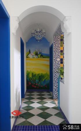 地中海风格过道装饰画效果图