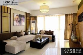 现代中式风格客厅布沙发背景墙装修效果图片