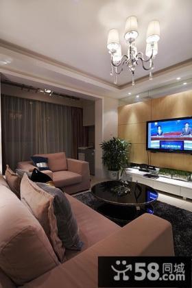 简约装修设计客厅电视背景墙装饰效果图