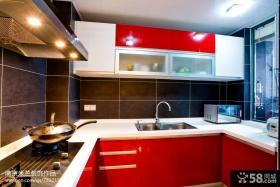 现代风格厨房红色橱柜装修图片