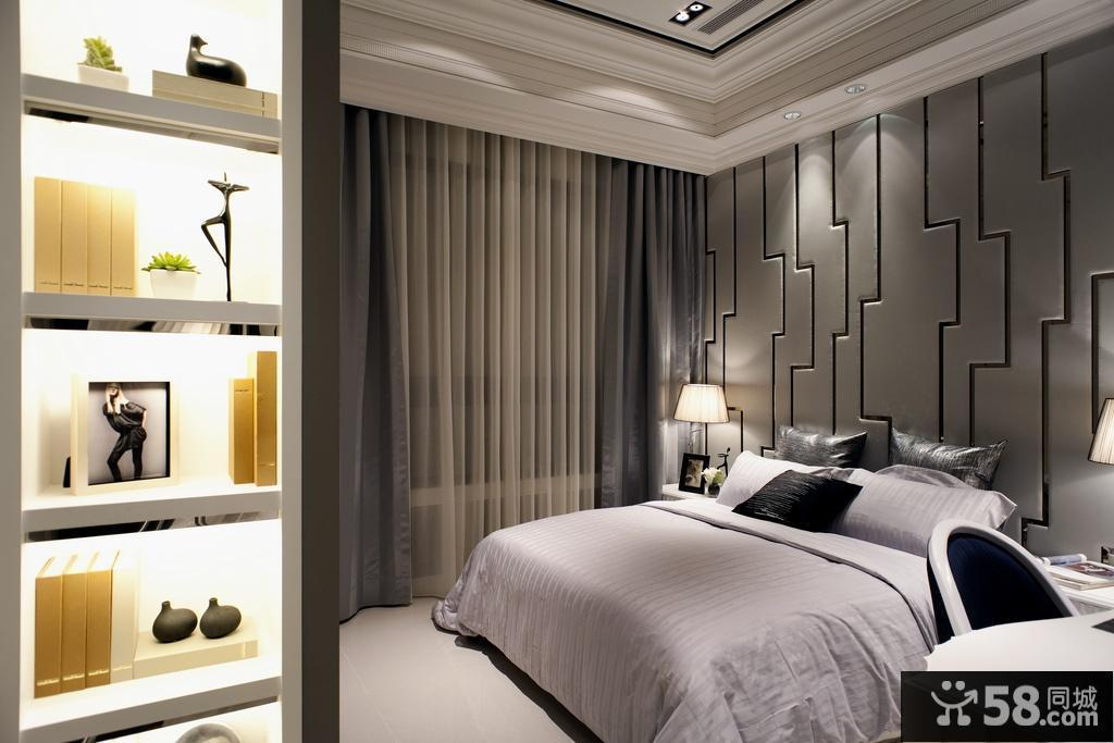 现代风格卧室床头墙面背景墙设计图片
