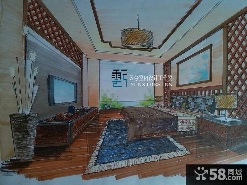中式卧室室内手绘效果图