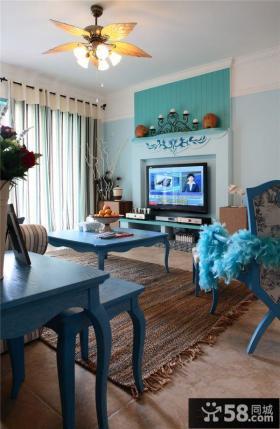 地中海风格客厅电视背景墙装修效果图片欣赏