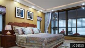 中式现代别墅室内卧室设计效果图
