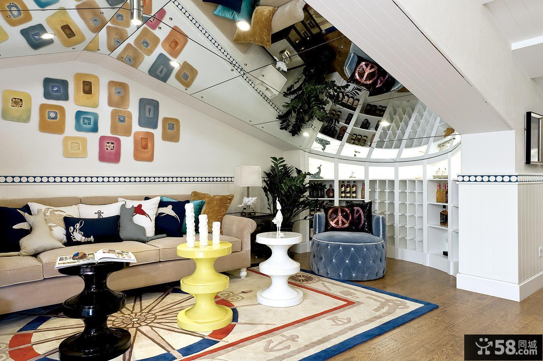 地中海风格阁楼客厅镜面吊顶装修效果图