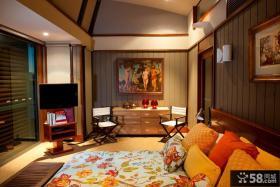 美式风格复式楼客厅装修效果图 原木客厅装修效果图
