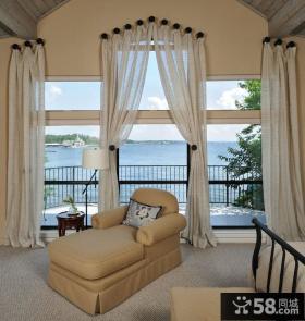 欧式风格客厅阳台窗帘装修图片 窗帘装饰效果图