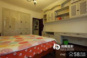 美式乡村风格卧室书房一体装修效果图