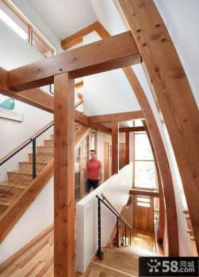 现代复式楼实木楼梯设计效果图